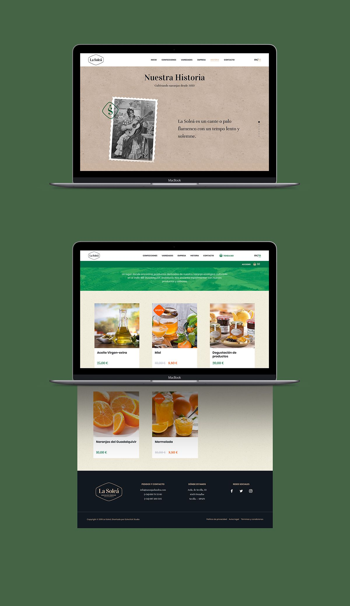 Web design of oranges La Soleá